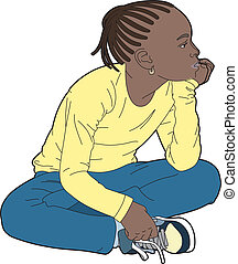 Black girl in yellow sweater - Vector illustration of a...
