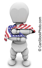 man with american flag - 3d render of man with american flag