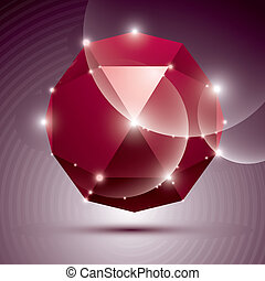 Party 3D red shiny disco ball. Vector fractal dazzling abstract