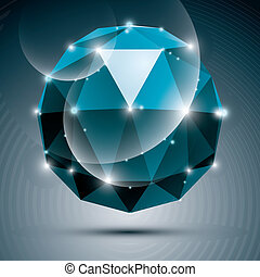 Vector stylish illustration, shiny sapphire effect, eps10....