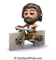 3d Caveman has a new bicycle - 3d render of a caveman on a...