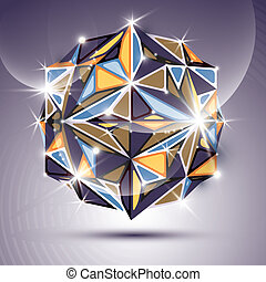 3D bright twinkle disco ball. Vector fractal dazzling abstract i