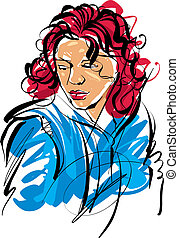 Colorful hand drawn illustration of a woman on white...