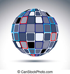 Gray urban spherical fractal object, 3d metal mirror ball....