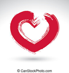 Hand drawn red love heart icon, brush drawing loving heart...