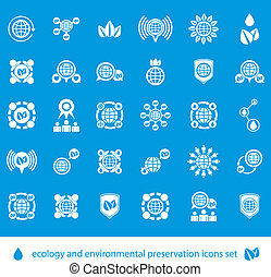 Ecology and environmental conservation vector icons set,...