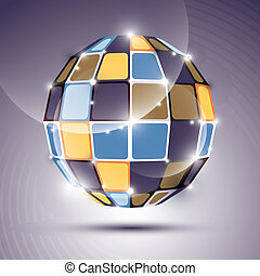 3D glossy mirror ball created from geometric figures. Vector fes