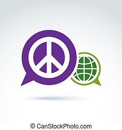 Round antiwar vector icon, green planet and speech bubble...