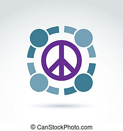 Round antiwar vector icon, no war symbol. People of the...
