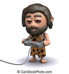 3d Caveman plays a video game - 3d render of a caveman...