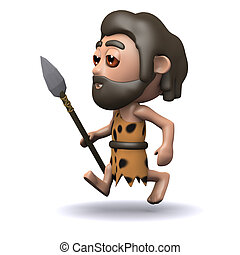3d Caveman running with a spear - 3d render of a caveman...