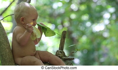 litle child sits in tropics - litle baby sits on a tree in...