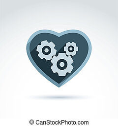 Vector illustration of a mechanical heart Love machine icon...