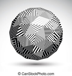 Triangular abstract dimensional striped sphere, vector digital e