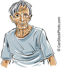Hand drawn old man illustration on white background,...