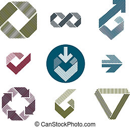 Abstract unusual lined vector icons set, creative symbols...