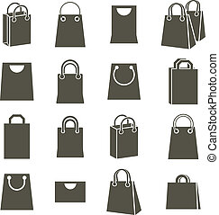 Shopping back icons isolated on white background vector set,...