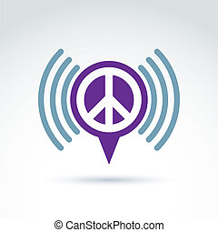 Vector speech bubble with peace symbol from 60th Podcast...
