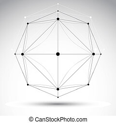 Abstract geometric 3D wireframe object, vector illustration,...