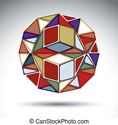 Abstract dimensional sphere with kaleidoscope effect. Stylish or