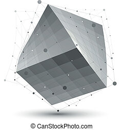 Distorted 3D abstract object with lines and dots isolated on...