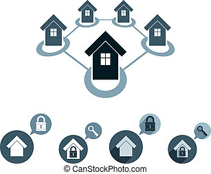 Real estate vector icons set, realty theme vector symbols...