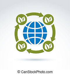 Globe with leaves rotating icon, circulation ecological...