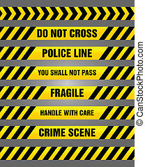 Caution tapes bundle - warning - Bundle of various yellow...