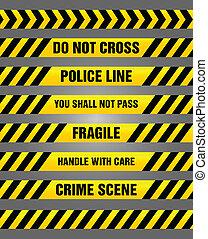 Caution tapes bundle - warning - Bundle of various yellow...
