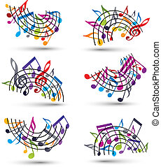 Bright jolly vector staves with musical notes on white...