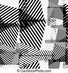 Black and white seamless pattern with parallel lines and...