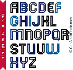 Double lines geometric font, colorful uppercase letters set...