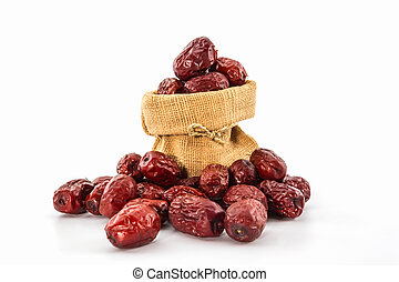Dried Red chinese jujube. - Dried Red chinese jujube on...