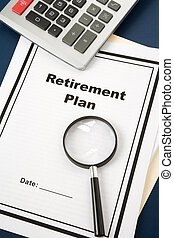 Retirement Plan and Magnifying Glass, business concept