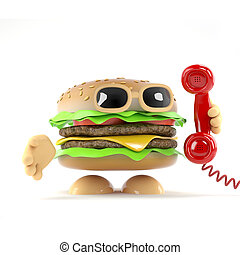 3d Burger answers the phone - 3d render of a beefburger...