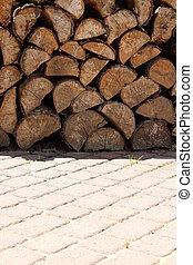 holz, stein, hintergrund, baum - Holz gestapelt auf...