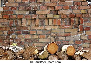 mauer, wand, stein, holz - Steinwand mit Holz gestapelt