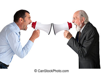 men with megaphones - businessman and senior male manager...