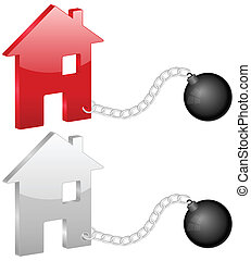 house with shackles - Shackles with house symbol on a white...