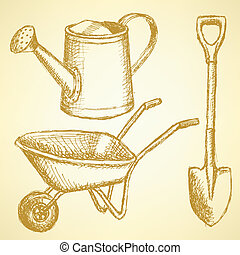 Sketchwatering can, shovel and barrow, vector background -...