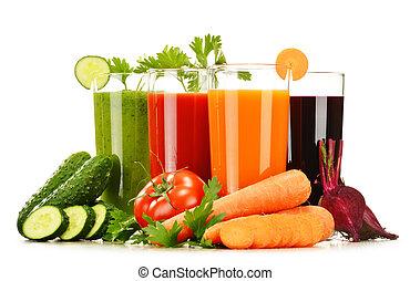 occhiali, fresco, verdura, succhi, isolato, bianco