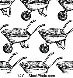Sketch barrow, vector vintage seamless pattern eps 10