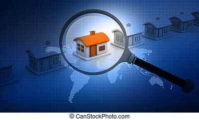 Magnifying glass searching for unique house. Real estate...