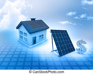 House with solar panels and dollar sign