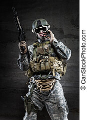 American Soldier talking via radio - American Soldier...