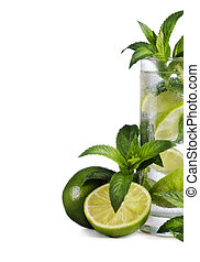 Mojito cocktail and ingredients isolated over white