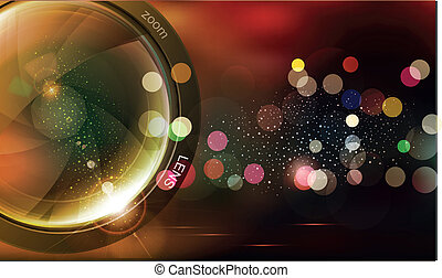 vphoto lens and bokeh - vector background with photo lens...