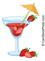 Glass with drink and strawberries - Blue transparent glass...