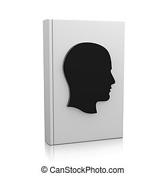 Biography - White Book Upright with Human Head on White...