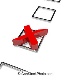 Check Mark - Red Cross Check Mark on White Background 3D...